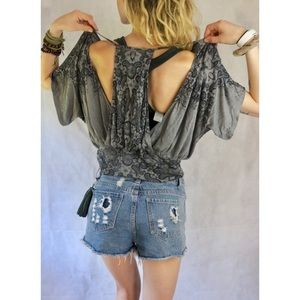 Free People Gray Paisley Bat Wing Stretch Crop Top
